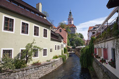 Narrow canal at Cesky Krumlov Royalty Free Stock Images