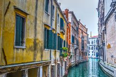 Narrow canal in Venice. Italy Stock Photo