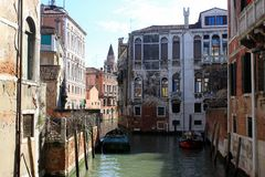 Narrow canal Venice Italy royalty free stock images