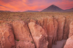 Narrow Canyon And Volcan Licancabur, Atacama Desert, Chile At Su Stock Images
