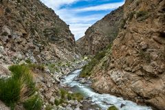 Narrow canyon of Tosor river. Tien Shan Stock Images
