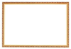 Narrow carved ancient gold wooden picture frame Stock Photography
