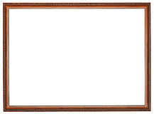 Narrow carved retro brown wooden picture frame Royalty Free Stock Photography