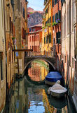 Narrow channel street in Venice, Italy Stock Photos
