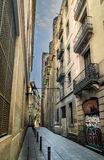 Narrow City Alley Way in Barcelona Royalty Free Stock Image