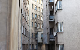Narrow city buildings Stock Images