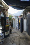 Narrow city street of shops and art galleries in Tzfat. (Safed). Israel Royalty Free Stock Photo