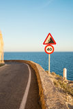 Narrow coastal road Stock Photo