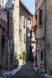 Narrow cobbled street with flowers in the old village Tourrettes Royalty Free Stock Image