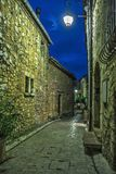 Narrow cobbled street with flowers in the old village Tourrettes-sur-Loup at night, France. stock photo