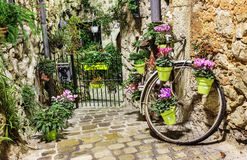 Narrow cobbled street with flowers Stock Photo