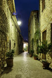 Narrow cobbled street with flowers in the old village Tourrettes Royalty Free Stock Images