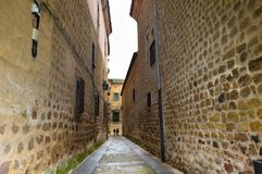 Narrow and cobbled street wet with rain. stock photo