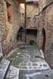 Narrow cobbled streets in old village Lyuseram, France Royalty Free Stock Photos