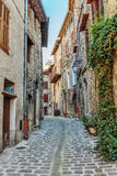 Narrow cobbled streets in the old village Lyuseram Stock Images