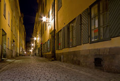 Empty alley at night. Royalty Free Stock Photography