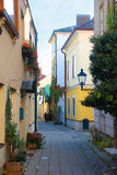 Narrow cobblestone street, Baden, Austria Royalty Free Stock Photography