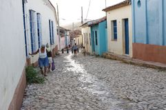 A cobblestone street in the Caribbean Stock Image