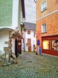 Narrow cobblestone street Nove Mesto Royalty Free Stock Photo
