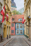 Narrow colorful street in the historical center of Riga Stock Photo