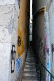 Narrow and colorful street of Lisbon Royalty Free Stock Image