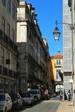 Narrow and colorful street of Lisbon Royalty Free Stock Photography