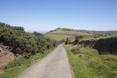 Narrow country road in North Devon England Stock Photos