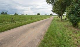 Narrow country road along a Dutch Stock Photos