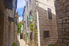 Narrow croatian street. In Stari Grad stock photos