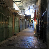 Narrow Dark Streets of Old City, Jerusalem Royalty Free Stock Photos