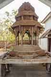 Narrow display of hindu ancient wooden chariot,Chennai, India, Feb 25 2017 royalty free stock photo
