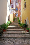 Narrow european street with steps Stock Photography