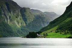 Narrow fjord, Norway Royalty Free Stock Images