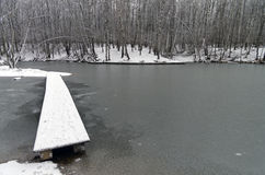 A narrow footbridge to the newly frozen pond. Stock Photography