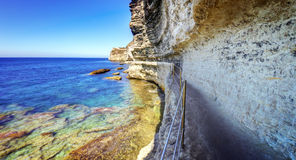 Narrow footpath on cliff face Royalty Free Stock Photos