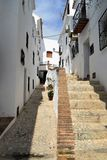 Narrow footpath and steps in Frigiliana - Spanish white village Andalusia Royalty Free Stock Photos