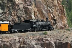 Narrow Gauge Locomotive. Durango and Silverton Narrow Gauge Locomotive going up Animas pass Royalty Free Stock Photos
