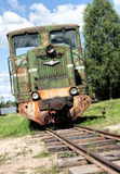 Narrow-gauge locomotive. Narrow gauge locomotive  a deadlock Royalty Free Stock Photo