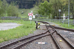 Narrow gauge manual switches - RAW format. Narrow gauge railway switches in a mountain region from austria Stock Photos
