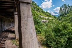 Narrow gauge railway in Georgia. Narrow gauge railroad from Borjomi to Bakuriani, south-central part of Georgia Stock Images
