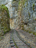 Narrow gauge railroad in mountains of North Caucasus. Royalty Free Stock Photos
