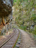 Narrow gauge railroad in mountains of North Caucasus. Stock Image