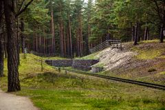 Narrow-gauge railway. Narrow-gauge railroad in the museum, Ventspils Royalty Free Stock Photos