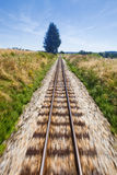 Narrow gauge railroad track. View of narrow gauge railroad track from rear window of train riding through landscape Royalty Free Stock Photography