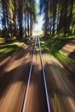 Narrow gauge railroad track. View of narrow gauge railroad track from rear window of train riding through forest Stock Photos