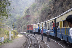 Narrow Gauge railway. A toy train on the 96 km mountainous Kalka-Shimla railway route from Kalka to Shimla. The 2 ft 6 inch narrow gauge railway has 864 bridges Stock Photos