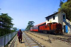 Narrow Gauge railway. A toy train standing at Shimla station on the 96 km mountainous Kalka-Shimla railway route from Kalka to Shimla. The 2 ft 6 inch narrow Royalty Free Stock Images