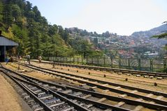 Narrow Gauge railway. A view from shimla station of toy train on the 96 km mountainous Kalka-Shimla railway route from Kalka to Shimla. The 2 ft 6 inch narrow Royalty Free Stock Images