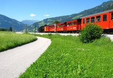 Narrow-gauge railway in Austria. Narrow-gauge railway in Zillertal, Austria Stock Photo