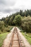 Narrow-gauge railway with bridge and forest on the background near Cisna village in Biesczady mountains in Poland Stock Photography
